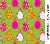 dragon fruit pattern. pitaya ... | Shutterstock .eps vector #509101486