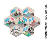 isometric house rooms  home set   Shutterstock .eps vector #509106736