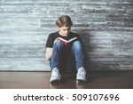 handsome young guy sitting on... | Shutterstock . vector #509107696