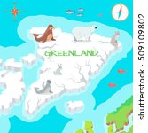 greenland mainland cartoon map... | Shutterstock .eps vector #509109802
