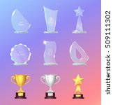 glass and metal sports trophies ... | Shutterstock .eps vector #509111302