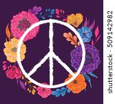 hippie peace symbol with... | Shutterstock .eps vector #509142982