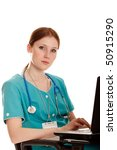 The young medical nurse with the laptop. - stock photo