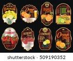 set of organic fruit retro... | Shutterstock .eps vector #509190352