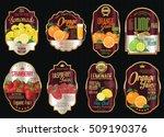 set of organic fruit retro... | Shutterstock .eps vector #509190376