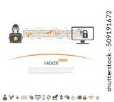 cyber crime concept for flyer ... | Shutterstock .eps vector #509191672
