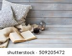 cushions  plaid  lantern  black ... | Shutterstock . vector #509205472