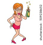 drunk woman with bottle of... | Shutterstock .eps vector #509238652