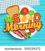 english breakfast   fried egg ... | Shutterstock .eps vector #509239372