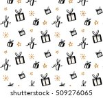 Gift pattern, seamless texture with hand drawn illustrations of present boxes. Vector gifts background. - stock vector