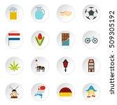 netherlands icons set. flat