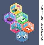 isometric office vector... | Shutterstock .eps vector #509306092