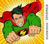 pop art superhero. young... | Shutterstock .eps vector #509309818