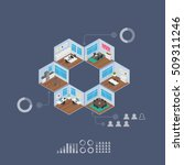 isometric office vector... | Shutterstock .eps vector #509311246