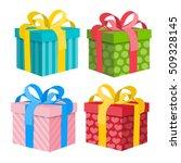 gift box set. vector present...   Shutterstock .eps vector #509328145