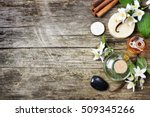 top view of spa products with... | Shutterstock . vector #509345266