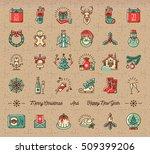 mega christmas icons set  new... | Shutterstock .eps vector #509399206