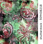 watercolor paisley on abstract... | Shutterstock . vector #509438218