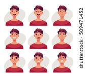 young man face expression  set... | Shutterstock .eps vector #509471452