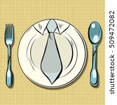business lunch  dish  fork and...   Shutterstock .eps vector #509472082