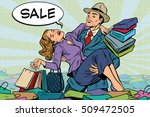 retro man rescues a woman from... | Shutterstock .eps vector #509472505