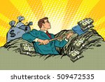 retro businessman digs up money ... | Shutterstock .eps vector #509472535