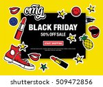 black friday 50  off sale start ... | Shutterstock .eps vector #509472856