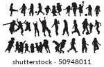 happy kids silhouette | Shutterstock .eps vector #50948011