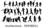 happy kids silhouette | Shutterstock .eps vector #50948011