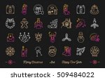 christmas icons set  happy new... | Shutterstock .eps vector #509484022