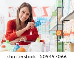 smiling woman doing grocery... | Shutterstock . vector #509497066