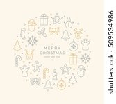 christmas icons elements circle ... | Shutterstock .eps vector #509534986