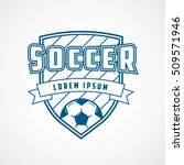 soccer emblem blue line icon on ...   Shutterstock .eps vector #509571946