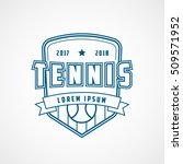 tennis emblem blue line icon on ... | Shutterstock .eps vector #509571952
