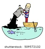 sailor in boat is pouring from... | Shutterstock .eps vector #509572132