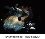 the space ship on a background...   Shutterstock . vector #50958820