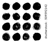 set of black ink vector stains. ... | Shutterstock .eps vector #509592142