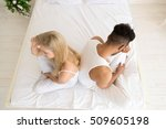 young couple sitting in bed ... | Shutterstock . vector #509605198