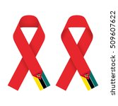 red ribbon aids  hiv icon with  ... | Shutterstock .eps vector #509607622