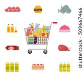 shopping cart with food. eps10... | Shutterstock .eps vector #509667466
