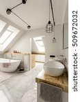 Small photo of Bright interior of bathroom with minimalistic lighting, roofwindows, white amenities and oval bathtub