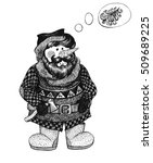 snowman with a beard in the... | Shutterstock . vector #509689225