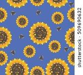 Sunflowers On A Blue Backgroun...