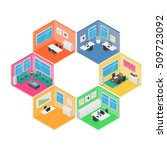 isometric office vector... | Shutterstock .eps vector #509723092