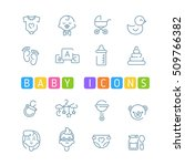baby outline icons. simple kids ... | Shutterstock .eps vector #509766382