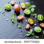 colored slices of tomato with... | Shutterstock . vector #509770582