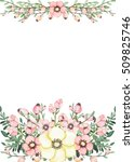 floral frame with watercolor... | Shutterstock . vector #509825746