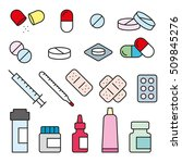 set flat medical pills  | Shutterstock .eps vector #509845276