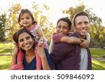 mixed race parents carry their... | Shutterstock . vector #509846092