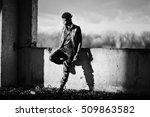 Small photo of Black afroamerican man gangsta rap singer. Black and white photo